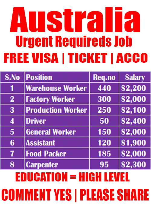 Urgent Required In Australia